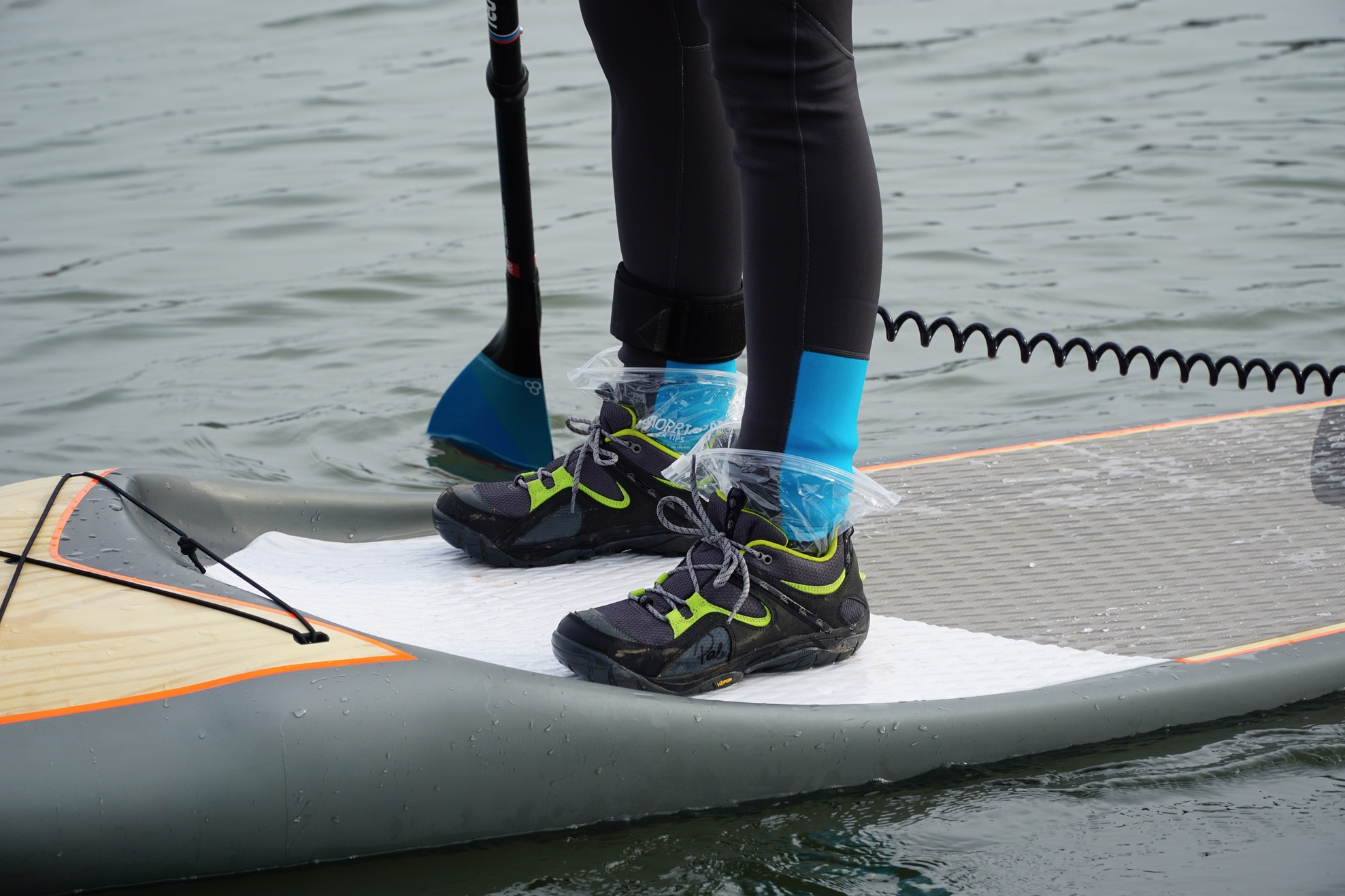 What to wear on your feet paddleboarding? - plastic bags
